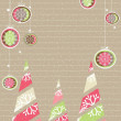 Christmas &amp; New Year card with decorative colorful trees and chr - Stock Vector