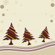 Greeting card with decorative christmas trees and blank space fo - Stock Vector