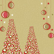 Abstract, greeting card with Christmas trees,christmas ball and - Stock Vector