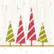 Christmas &amp; New Year card with colourful trees and space for tex - Stock Vector