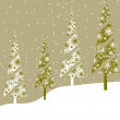 Christmas & New Year card with decorative christmas trees and sp - Stock Vector