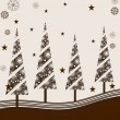 Decorated Christmas trees on brown border background. vector ill - Stock Vector
