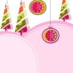 A colorful christmas card with Christmas balls & Christmas tree — Stock Vector