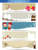 Mega set of christmas banners with santa, snowman and copyspace — Stock Vector
