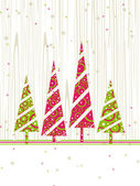 Christmas & New Year card with colourful trees and space for tex — Stock Vector