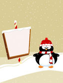 Blank template for Christmas greetings card with penguine. Vecto — Stock Vector