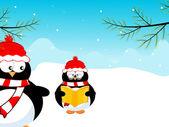 Cute penguine, one penguine reading book. Vector illustration. — Stock Vector
