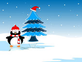 Penguin with Christmas tree on the reflection of icy water. vect — Stock Vector