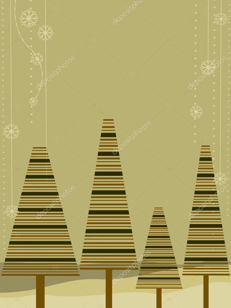 Greeting card with decorative christmas trees on brown background for Christmas, New Year & other occasions. — Stockvectorbeeld #8103170