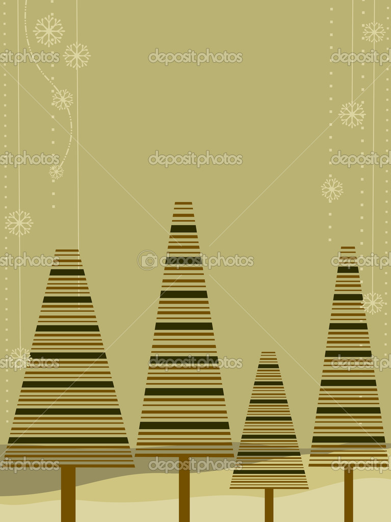 Greeting card with decorative christmas trees on brown background for Christmas, New Year & other occasions.  Stock vektor #8103170