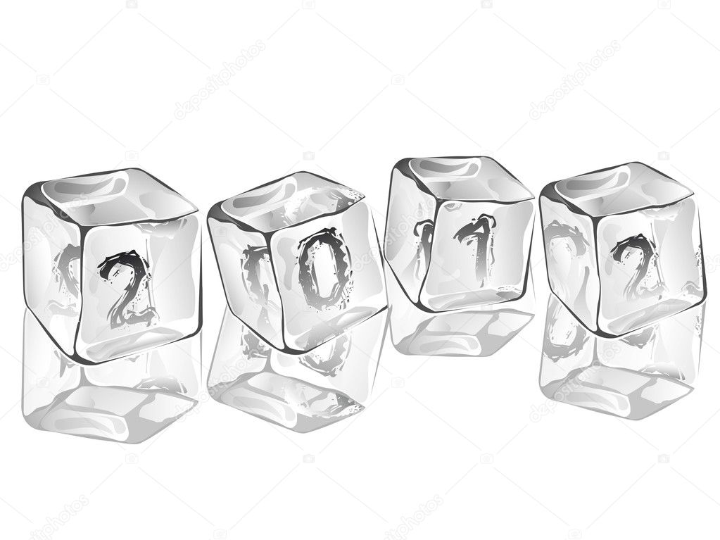 Melting  ice cubes 2012 in 3d visualization with reflection on isolated white background for New Year and other occasions. — Stock Vector #8103197