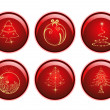 Royalty-Free Stock Vector Image: Seasonal set of red glossy sphere isolated Christmas icons on w