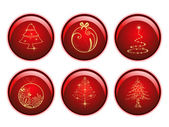 Seasonal set of red glossy sphere isolated Christmas icons on w — Stock Vector
