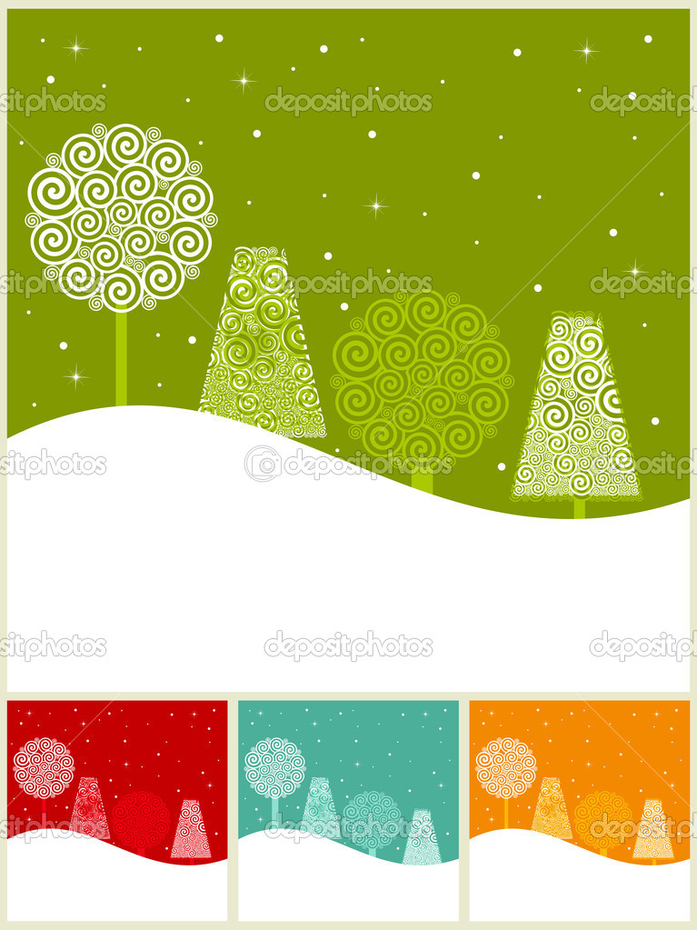 Vintage card set with holiday Christmas tree on colorful background for Christmas & other occasions.  Stock Vector #8129675