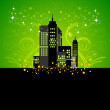 Royalty-Free Stock Vector Image: Silhouette of night city on Green background With Floral.