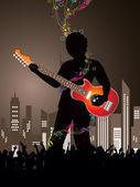 Silhouet van volkeren dansen bij stedelijke nieuwjaar partij achtergrond — Stockvector
