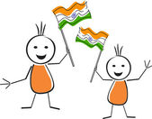 A card of republic day with two cute character holding the natio — Stock Vector