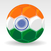 Vector illustration of a ball covered with Indian Flag on white — Stock Vector