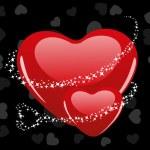 Vector ilustración de una forma de corazón con matarratas estrellas en gris h — Vector de stock