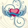 Heart shape having floral decorative wings on seamless floral ba — Stockvektor