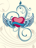 Heart shape having floral decorative wings on seamless floral ba — Stok Vektör