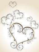 Decoratieve hart vormen gemaakt met florale elementen. vector illust — Stockvector