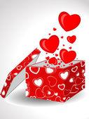 Abstrait, formes de coeur forme à venir ouvrent boîte cadeau. vecteur ill — Vecteur