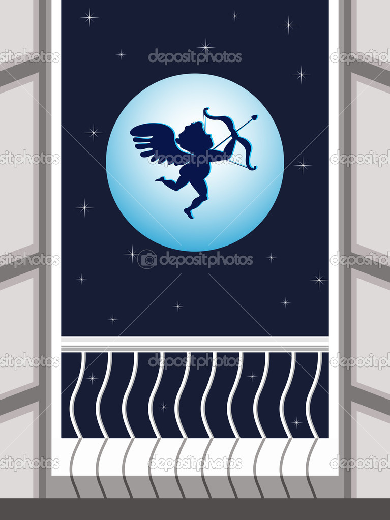 Vector illustration of Cupid flying in the sky and taking aim on night scene background for Valentines Day. — Stock Vector #8224997