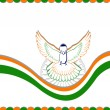 An Indian flag card with the flying pigeon. Vector Illustration. — Stock Vector