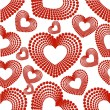 Vector illustration with seamless pattern of heart shape on whit — Stockvectorbeeld