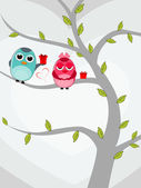 Vector illustration of two love birds sitting on tree with gift — Vector de stock