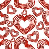 Vector illustration with seamless pattern of heart shape on whit — Stock Vector