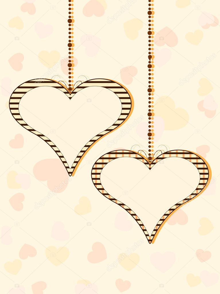 Vector illustration of two hanging heart shapes with copy space on colorful seamless heart shapes background for Valentines Day. — Stock Vector #8296394