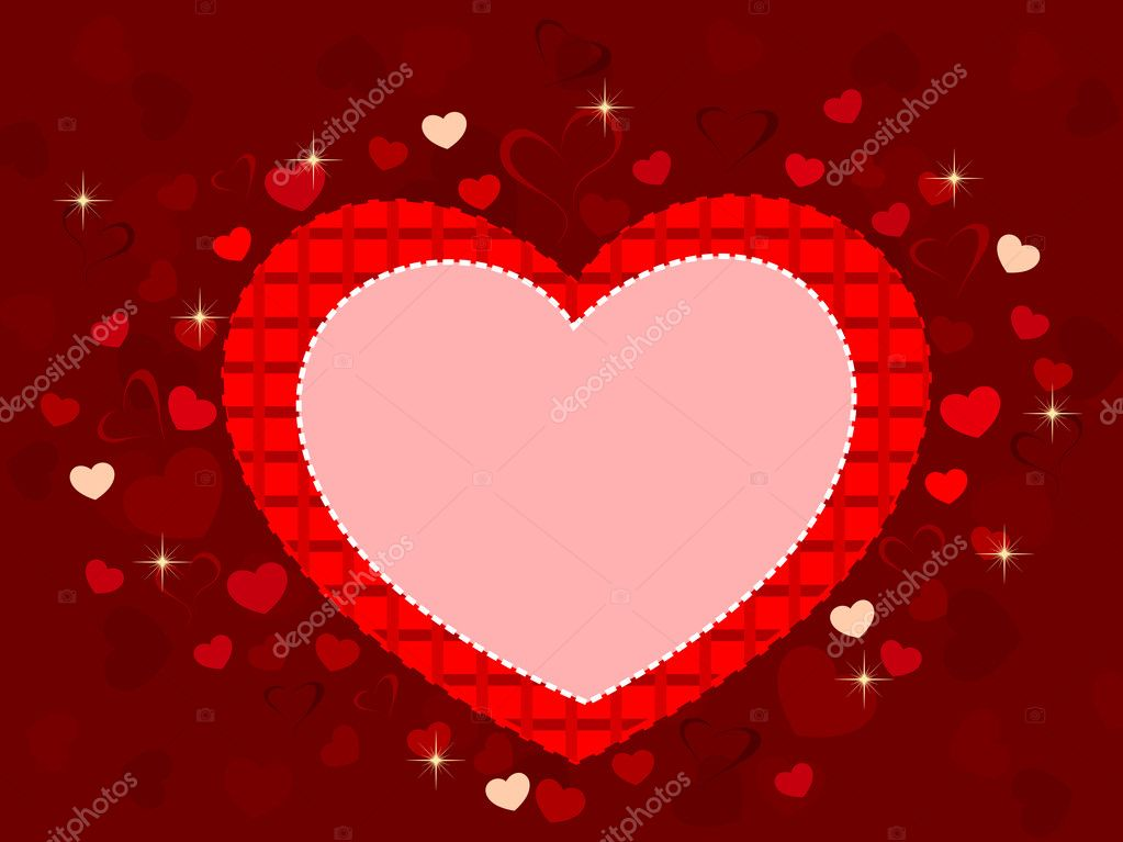 Vector illustration of a heart shape frame in red color with copy space on seamless and shiny heart shape background for Valentines Day.  Stock Vector #8296396