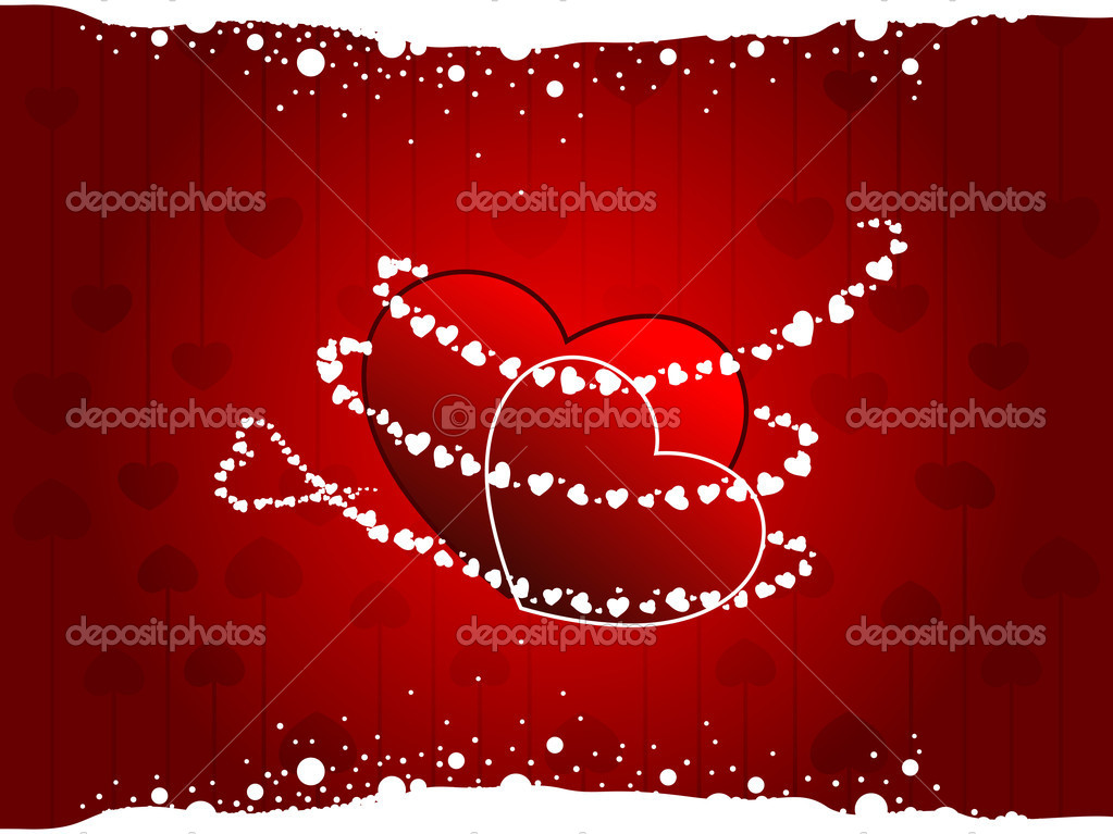 Vector illustration of a two heart shapes  on seamless heart shape background in red colors with white dotted effect for Valentines Day. — Stock Vector #8296402