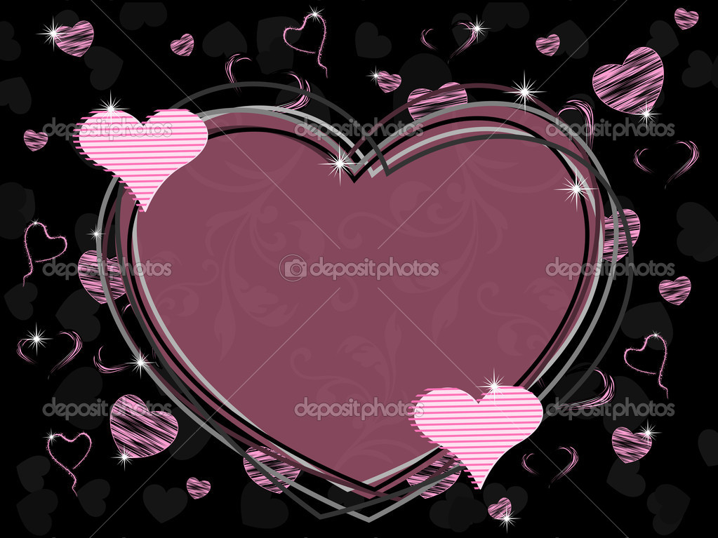 Vector illustration of a heart shape frame with seamless floral work and shiny heart shape with texture on black background for Valentines Day. — Stock Vector #8296404