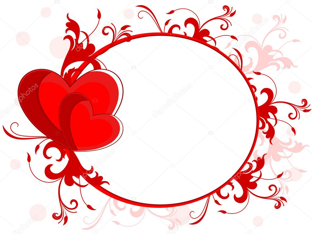 Abstract love frame made with red heart, floral and copy space on seamless floral background for valentines day and other occasions. — Stock Vector #8296415