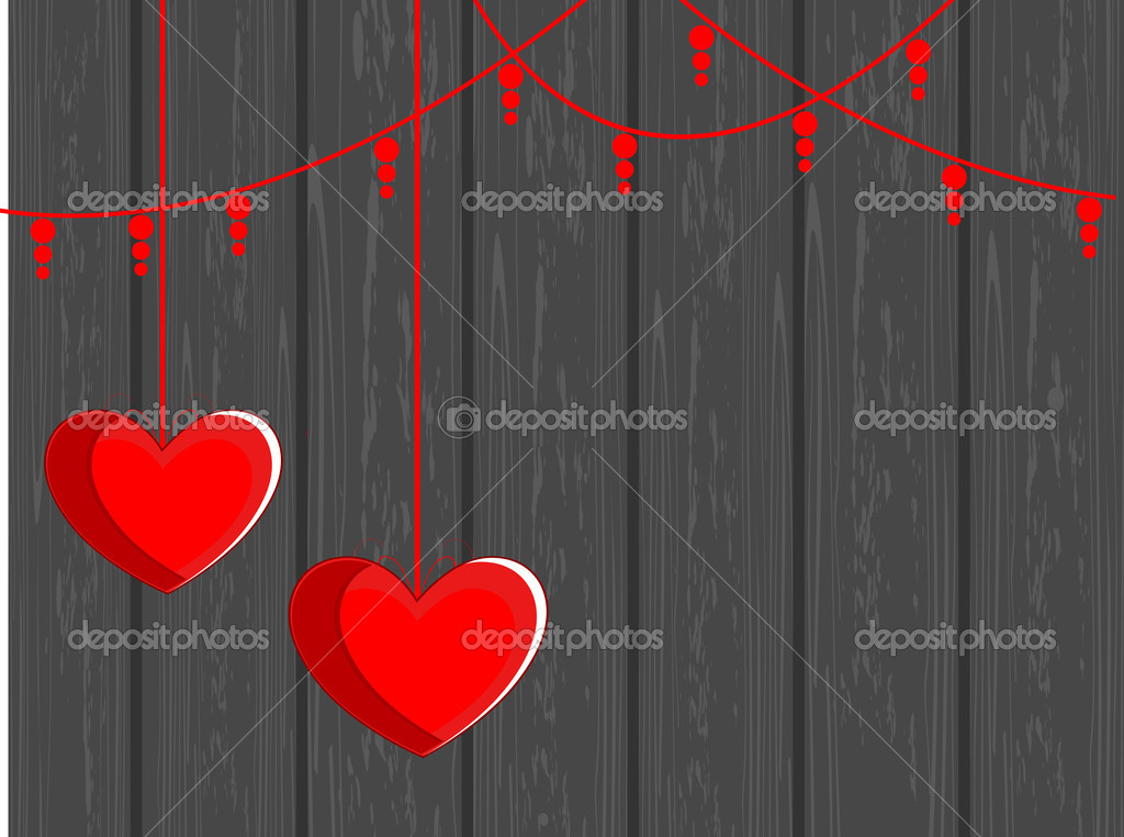 Vector illustration of two hanging hearts shape on grey wooden background for valentines Day — Grafika wektorowa #8296418
