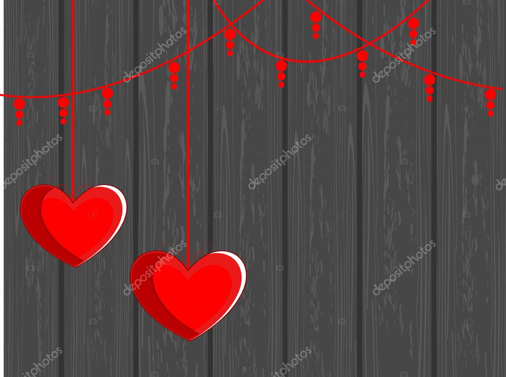 Vector illustration of two hanging hearts shape on grey wooden background for valentines Day — Vektorgrafik #8296418