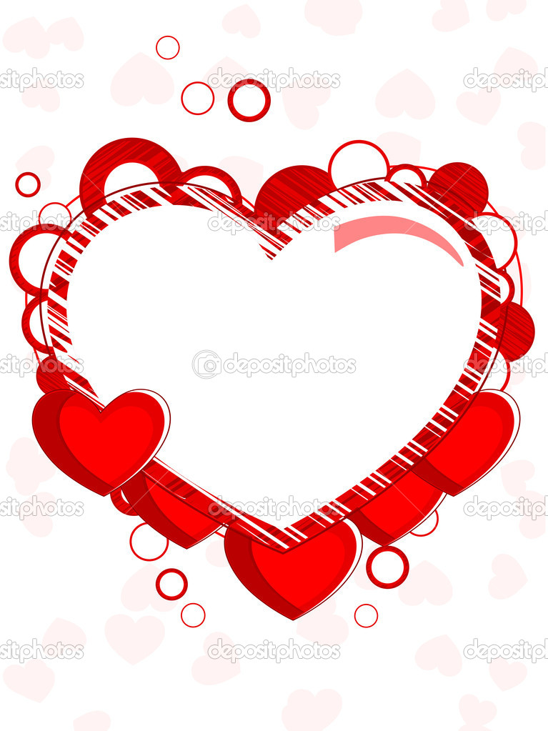 Abstract heart shape frame made with red heart and copy space on seamless background for valentines day and other occasions.  Stock Vector #8296429