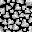 Vector illustration with seamless pattern of heart shape on blac — Imagens vectoriais em stock