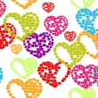 Vector illustration with seamless pattern of heart shape on whit — Векторная иллюстрация