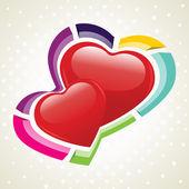 Ilustración vectorial de dos formas del corazón en backg punteado inconsútil — Vector de stock