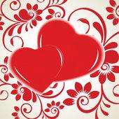 Ilustración vectorial de dos formas del corazón sobre fondo floral. — Vector de stock