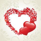 Ilustración vectorial de dos formas de corazón hecho con corazón pequeño sh — Vector de stock