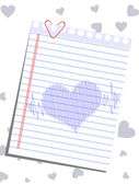 A template of heart shape on a note and heart beats for Valentin — Cтоковый вектор