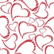 Vector illustration of heart shapes on seamless white background — Stock Vector