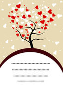 Vector illustration of a love tree with copy space for your text — Stock Vector