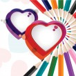 Vector illustration of a colorful heart shapes with pencil color — Imagens vectoriais em stock