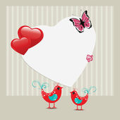 Vector illustration of a greeting card with love birds and copy — Stock Vector